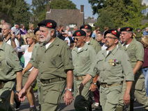 Dutch Royal Marines veteranes. A detachment of military veterans of the Royal Danish Army, participating in the Airborne Memorial March in Oosterbeek, the Stock Photography