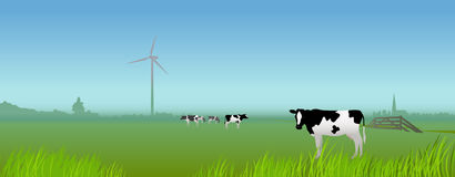 Dutch rural landscape with cows and windmill Royalty Free Stock Photo