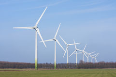 Dutch rural landscape with windturbines Stock Photography