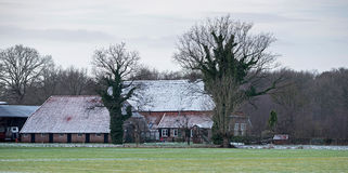 Free Dutch Rural Winter Landscape With Farm House. Stock Images - 91911024