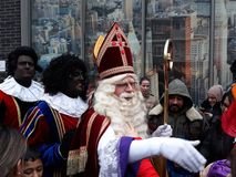 24-November-2018, The Hague, Netherlands, Europe. Celebrating the arrival of Dutch Saint Nicholas, called Sinterklaas, with his as. The dutch Santa Claus called royalty free stock photography