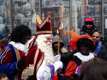 24-November-2018, The Hague, Netherlands, Europe. Celebrating the arrival of Dutch Saint Nicholas, called Sinterklaas, with his as. The dutch Santa Claus called stock photo