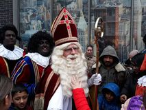 24-November-2018, The Hague, Netherlands, Europe. Celebrating the arrival of Dutch Saint Nicholas, called Sinterklaas, with his as. The dutch Santa Claus called royalty free stock photo