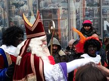 24-November-2018, The Hague, Netherlands, Europe. Celebrating the arrival of Dutch Saint Nicholas, called Sinterklaas, with his as. The dutch Santa Claus called stock image