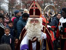 24-November-2018, The Hague, Netherlands, Europe. Celebrating the arrival of Dutch Saint Nicholas, called Sinterklaas, with his as. The dutch Santa Claus called royalty free stock image