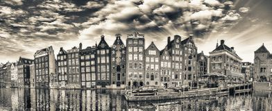 Dutch scenery with its canal side houses. Amsterdam panoramic sk Royalty Free Stock Image