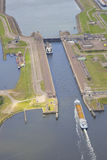 Dutch sea lock at IJmuiden from above Stock Photos