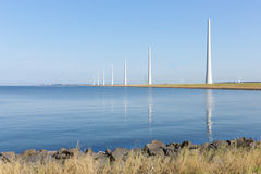 Dutch sea with new windturbines under construction Stock Image