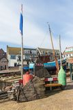 Dutch shipyard of Urk with historic fishing ships Stock Photography