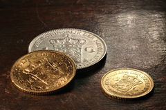 Dutch silver and gold coins Stock Photo