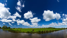 Dutch sky river panorama Royalty Free Stock Photography