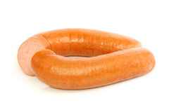 Dutch smoked sausage cut in half Stock Images