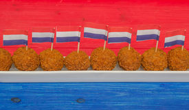 Dutch snacks with little dutch flags Royalty Free Stock Images
