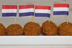 Dutch snacks with little dutch flags Royalty Free Stock Image
