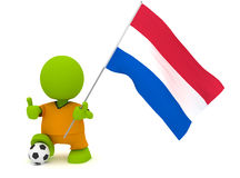 Dutch Soccer. Illustration of a man in a Dutch soccer jersey with a ball holding a flag. Part of my cute green man series Stock Images