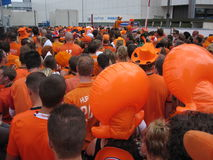 Dutch Soccer Fans. Celebrating successes of the National Team. Eindhoven, The Netherlands, July 2010 Stock Image