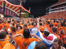 Dutch Soccer Fans. Supporters of the National Football team of Holland.  celebrating successes of the National Team. Eindhoven, The Netherlands, July 2010 Royalty Free Stock Photo