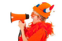 Dutch soccer supporter. Child in orange with megaphone as Dutch soccer supporter Stock Photo