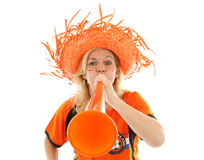 Dutch soccer supporter with orange vuvuzela Royalty Free Stock Images