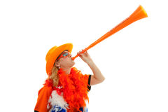 Dutch soccer supprter with plastic vuvuzela Royalty Free Stock Images