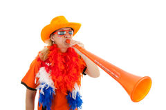 Dutch soccer supprter with plastic vuvuzela royalty free stock image