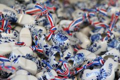 Dutch souvenir wooden shoes of porcelain Royalty Free Stock Images
