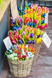 Wooden tulips for sale on an Amsterdam market. Dutch souvenirs - wooden tulips for sale on an Amsterdam market Stock Images