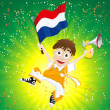 Dutch Sport Fan with Flag and Horn Stock Images