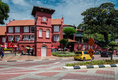 Dutch Square, Malacca City. Malacca, Malaysia, 4 June 2017: Dutch Square is surrounded by red painted buildings. It reflects the history of Melaka, the Dutch Stock Image