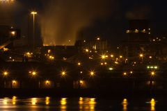 Dutch steel factory in IJmuiden at night Royalty Free Stock Images