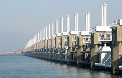A dutch storm surge barrier Royalty Free Stock Photos