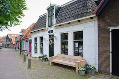 Dutch street with brick houses. Typical Dutch street with houses stock photography