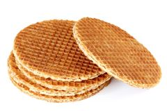 Dutch Stroopwafel, isolated on a white background Stock Photo