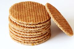 Dutch Stroopwafel, isolated on a white background Stock Images