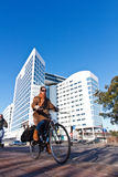 Dutch Style of Life - Fast ride in front the ICC. Frizzy view of the building of the International Criminal Court which judges the dictators and criminals around Royalty Free Stock Photo