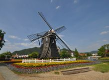 Dutch style wind mills house Royalty Free Stock Photo