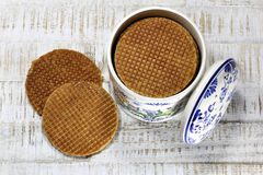 Dutch syrup waffles Royalty Free Stock Image
