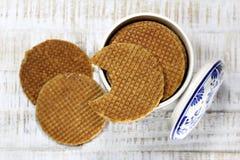 Dutch syrup waffles Royalty Free Stock Photos