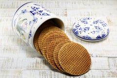 Dutch syrup waffles Stock Photos