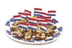 Dutch típico: Pão de Rye com arenques crus Foto de Stock