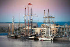 Dutch tall ships. Adelaide, SA/Australia – August 31, 2013: Vintage Dutch tall ships on display in Port Adelaide during Tall Ships Festival. It was he biggest Stock Photography