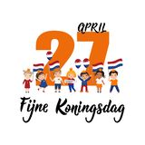 Dutch text: Happy King`s Day, April 27th. Lettering. vector. element for flyers, banner and posters. kids logo. Dutch text: Happy King`s Day, April 27th stock illustration