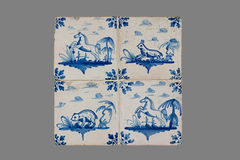 Dutch tile from the 16th to the 18th century. Old Dutch tile from the 16th to the 18th century royalty free stock images
