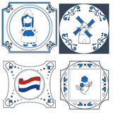 Dutch tiles hand drawn. Collection of dutch delftware hand drawn stock illustration