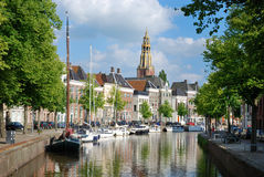 Dutch town with a canal Royalty Free Stock Photography
