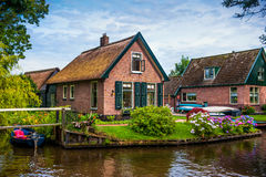 Dutch town Giethoorn with cottages and canals Stock Photography
