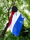 Dutch tradition school bag on flag when graduating Royalty Free Stock Photos