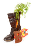 Dutch tradition: shoe with carrot and present Royalty Free Stock Images