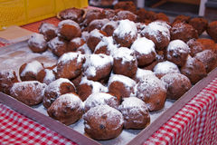 Dutch traditional food with sweet sugar. Dutch traditional food with sugar for new year called oliebollen royalty free stock photos