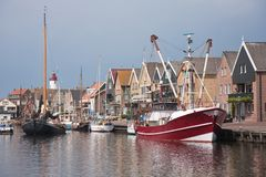 Dutch traditional and modern fishing cutter. Traditional and modern fishing cutter in the harbor of Urk, the Netherlands Stock Photography